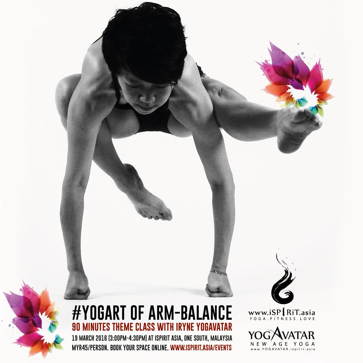 Yogurt of arm balance: theme class with iRyne Yogavatar poster v1