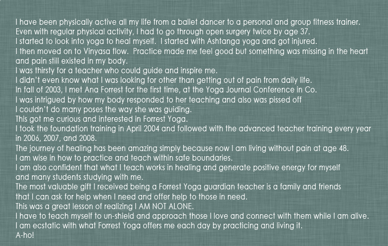 Sinhee forrest yoga testimonial
