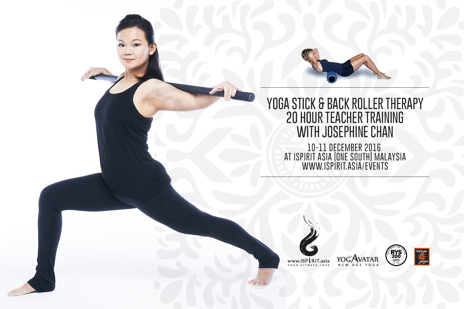 Yoga Stick & Back Roller Therapy 20 Hour Teacher Training With Josephine Chan